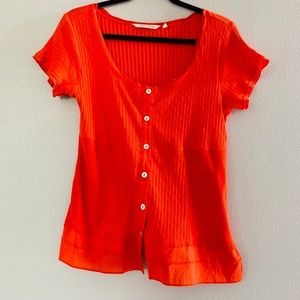 Soft Surroundings Red Button Up Ribbed Tee Shirt